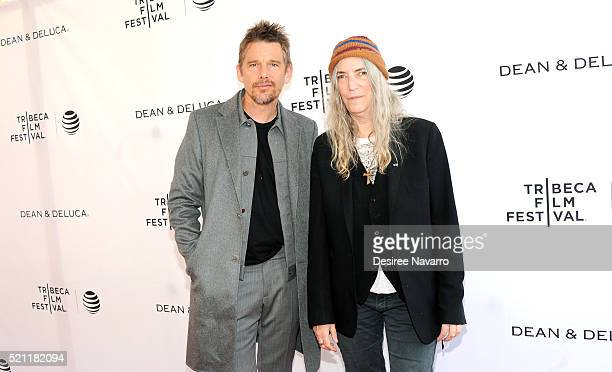 Actor Ethan Hawke and singer-songwriter Patti Smith attend Tribeca Talks Storytellers: Patti Smith With Ethan Hawke - 2016 Tribeca Film Festival at...