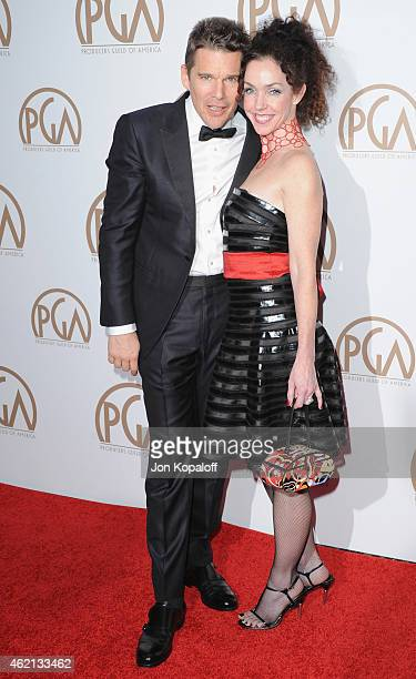 Actor Ethan Hawke and sister arrive at the 26th Annual PGA Awards at the Hyatt Regency Century Plaza on January 24 2015 in Los Angeles California