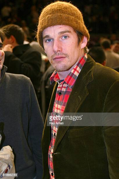 Actor Ethan Hawke attends a game between the New York Knicks and Dallas Mavericks at Madison Square Garden on December 21 2004 in New York City NOTE...