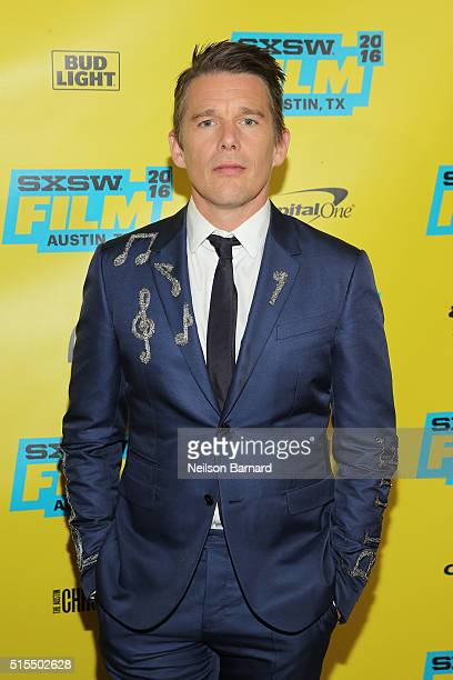 Actor Ethan Hawke attends the 'Born To Be Blue' premiere during the 2016 SXSW Music Film Interactive Festival at Topfer Theatre at ZACH on March 13...