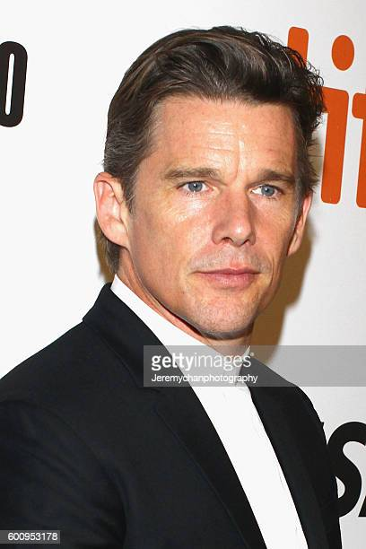Actor Ethan Hawke attends the 'The Magnificent Seven' premiere held at Roy Thomson Hall during the Toronto International Film Festival on September 8...