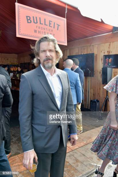 Actor Ethan Hawke celebrated with a Bulleit cocktail at the Bulleit Frontier Works Whiskey Experience during the 2018 Film Independent Spirit Awards...