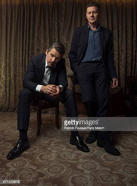 Actor Ethan Hawke is photographed with film director Andrew Niccol for Paris Match on April 1 2015 in Paris France