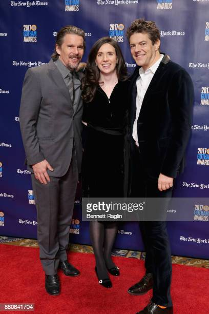 Actor Ethan Hawke Lauren Schuker and producer Jason Blum attend the 2017 Gotham Awards sponsored by Greater Ft Lauderdale Tourism at Cipriani Wall...