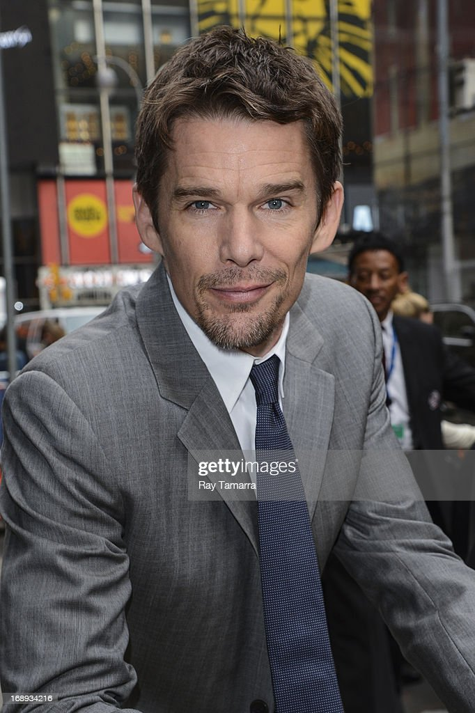 Actor Ethan Hawke leaves the 'Good Morning America' taping at the ABC Times Square Studios on May 17, 2013 in New York City.