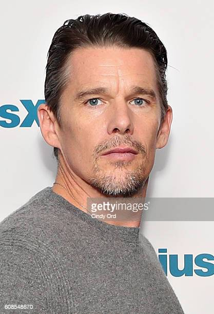 Actor Ethan Hawke participates in SiriusXM's 'Town Hall' with the cast of 'The Magnificent Seven' hosted by SiriusXM host Julia Cunningham on...