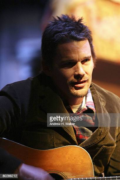 Actor Ethan Hawke sings and plays guitar between performances at the 24 Hour Plays at the Atlantic Theater on March 17 2008 in New York City