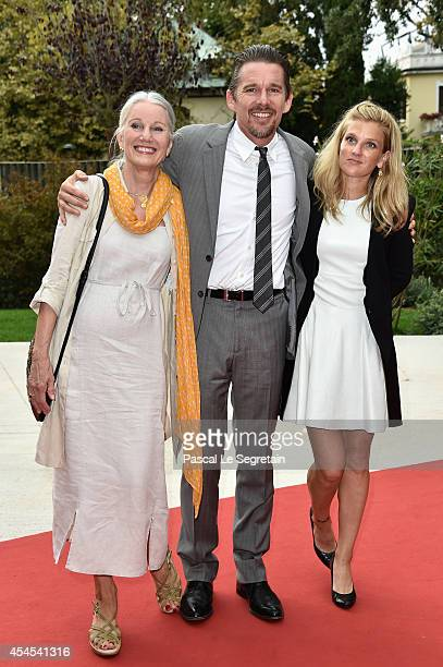 Actor Ethan Hawke with his mum Leslie Hawke and wife Ryan Hawke attends the Cymbeline premiere during the 71st Venice Film Festival on September 3...