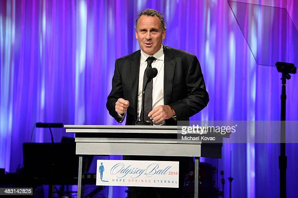Actor Ethan Wayne presents onstage at the John Wayne Cancer Institute Auxiliary's 29th Annual Odyssey Ball at Regent Beverly Wilshire Hotel on April...