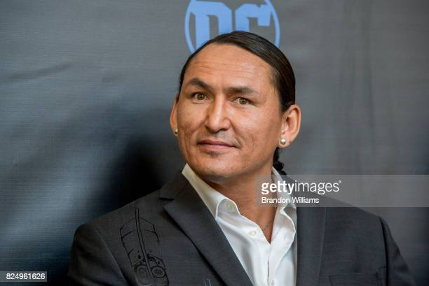 Actor Eugene Brave Rock attends the Warner Bros Studio Tour opening of the 'Wonder Woman' BehindTheScenes Experience at Warner Bros Studios on July...