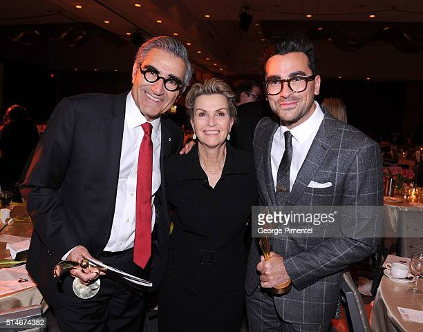 Actor Eugene Levy Deborah Divine Levy and actor Daniel Levy attend the Canadian Screen Awards at Westin Harbour Castle Hotel on March 9 2016 in...