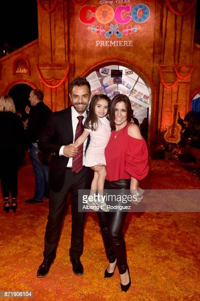 Actor Eugenio Derbez Aitana Derbez and Actor Alessandra Rosaldo at the US Premiere of DisneyPixar's 'Coco' at the El Capitan Theatre on November 8 in...