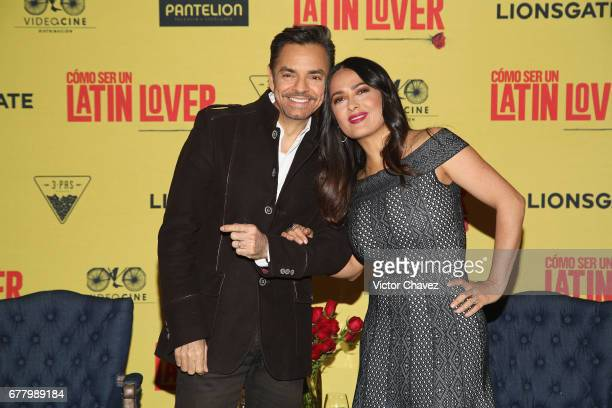 Actor Eugenio Derbez and actress Salma Hayek attend a press conference to promote their new film 'How To Be A Latin Lover' at Hotel St Regis on May 3...