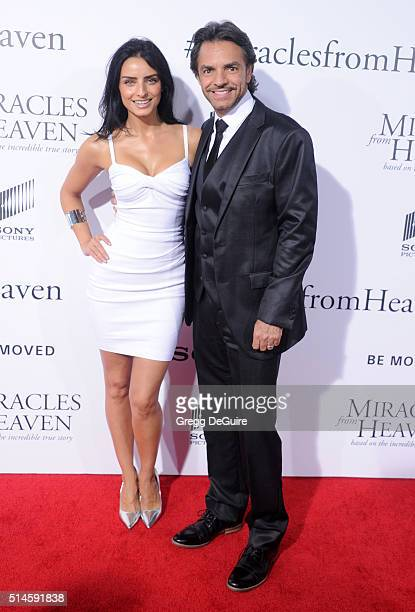 Actor Eugenio Derbez and daughter Aislinn Derbez arrive at the premiere of Columbia Pictures' 'Miracles From Heaven' at ArcLight Hollywood on March 9...