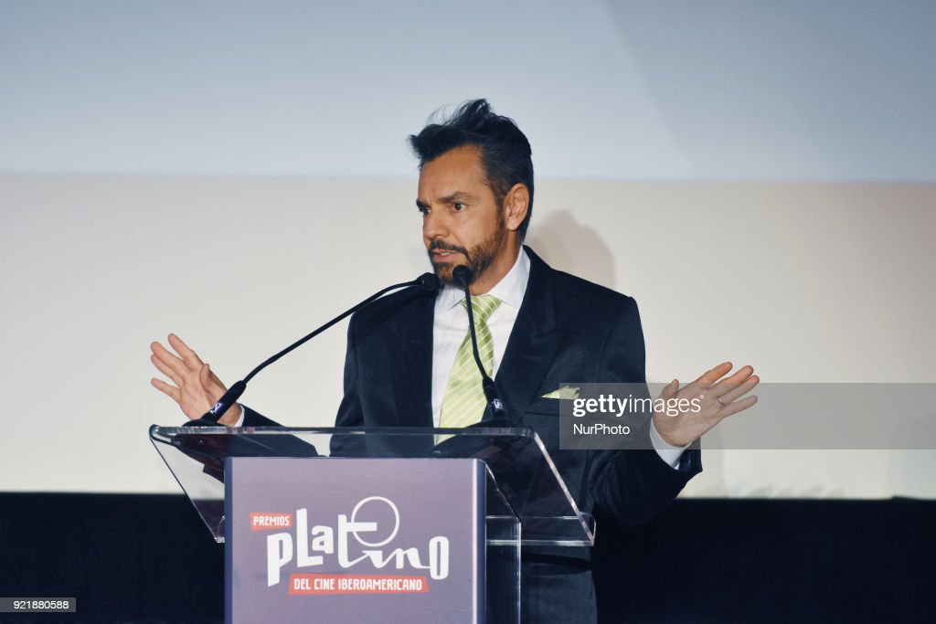 Actor Eugenio Derbez is seen during the press conference to promote 5th Platinum Awards of Ibero-American Cinema, the event will be held on April 29 in Rivera Maya. at Cineteca Nacional on February 20, 2018 in Mexico City, Mexico