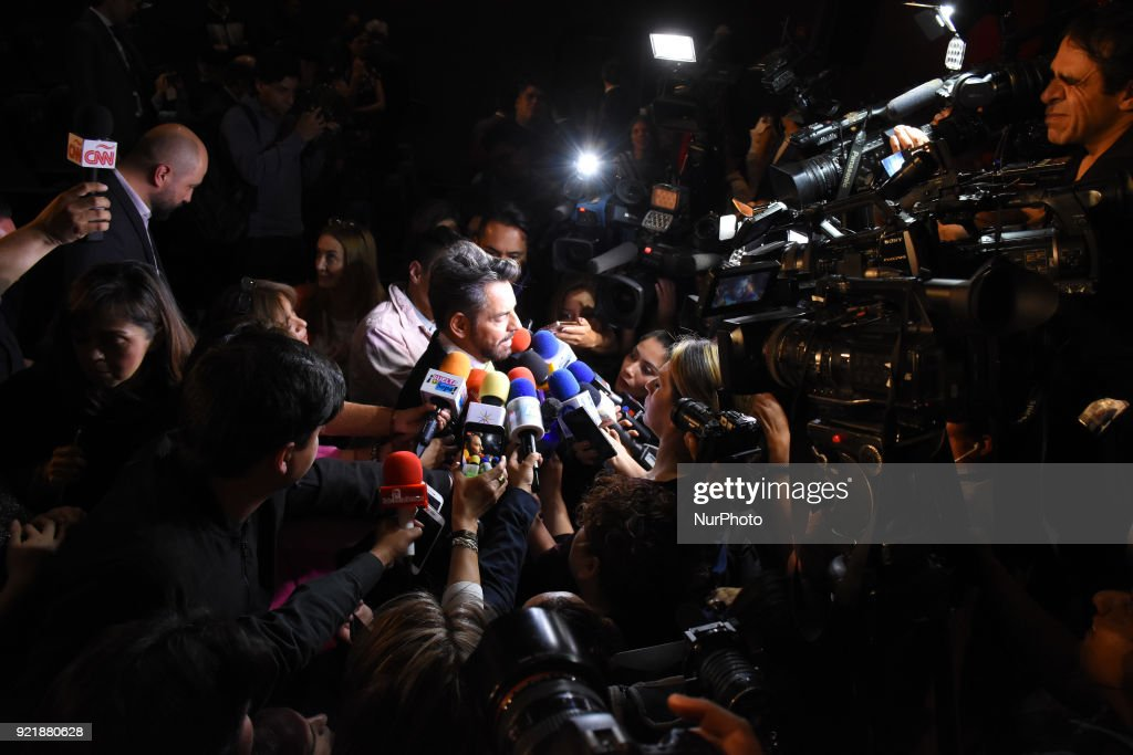 Actor Eugenio Derbez is seen interviewed of media during the press conference to promote 5th Platinum Awards of Ibero-American Cinema, the event will be held on April 29 in Rivera Maya. at Cineteca Nacional on February 20, 2018 in Mexico City, Mexico
