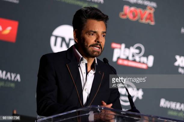 Actor Eugenio Derbez speaks during the 5th Annual Premios PLATINO Of Iberoamerican Cinema Nominations Announcement at Hollywood Roosevelt Hotel on...
