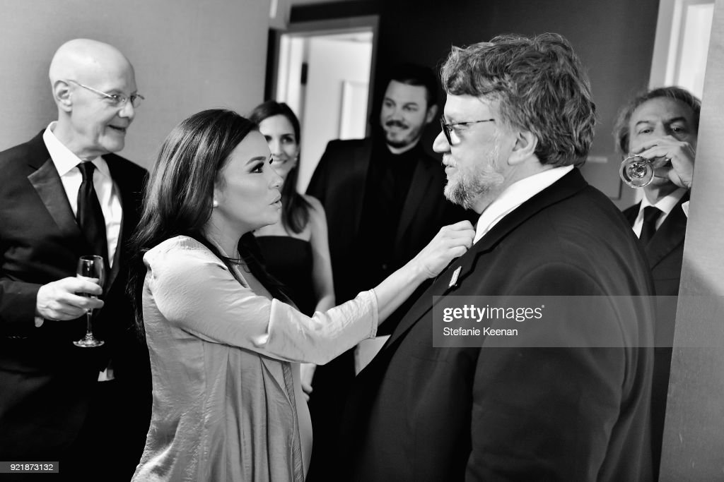 Actor Eva Longoria (L) and honoree Guillermo del Toro attend the Costume Designers Guild Awards at The Beverly Hilton Hotel on February 20, 2018 in Beverly Hills, California.