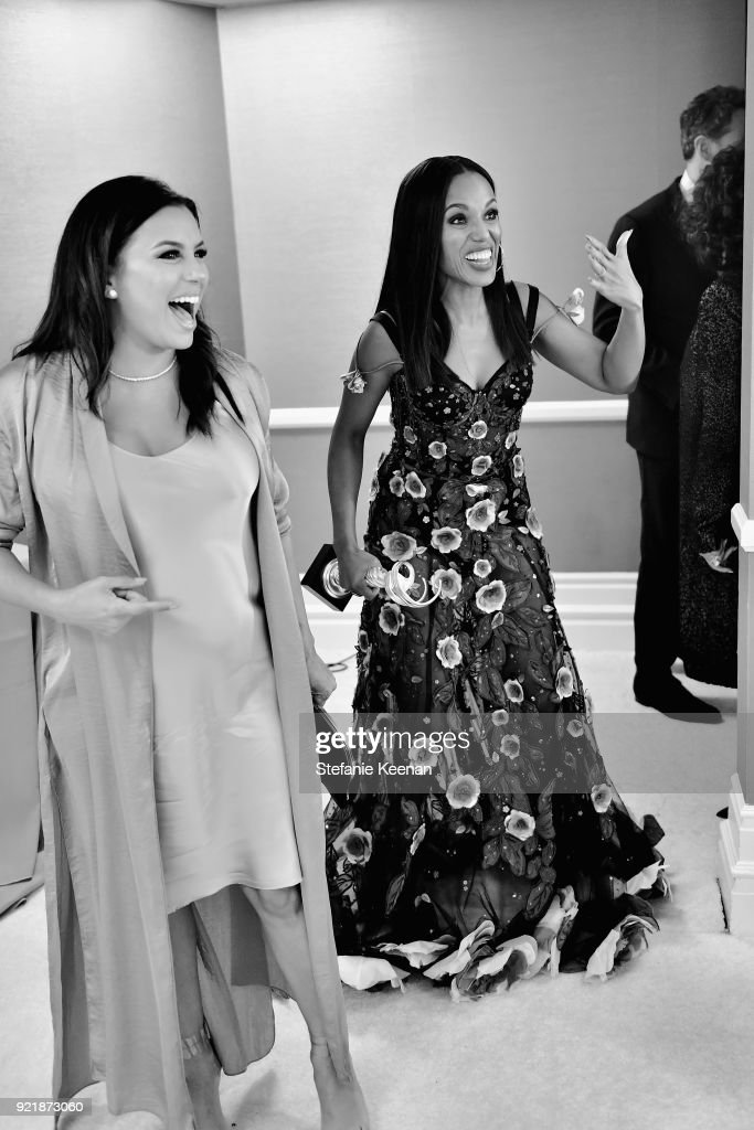 Actor Eva Longoria (L) and honoree Kerry Washington, recipient of the Spotlight Award, attend the Costume Designers Guild Awards at The Beverly Hilton Hotel on February 20, 2018 in Beverly Hills, California.