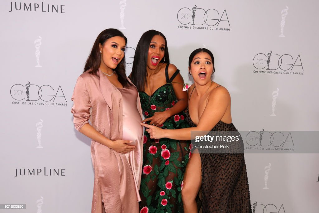 Actor Eva Longoria, honoree Kerry Washington, and host Gina Rodriguez attend the Costume Designers Guild Awards at The Beverly Hilton Hotel on February 20, 2018 in Beverly Hills, California.