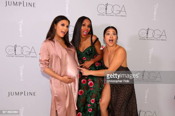 Actor Eva Longoria honoree Kerry Washington and host Gina Rodriguez attend the Costume Designers Guild Awards at The Beverly Hilton Hotel on February...