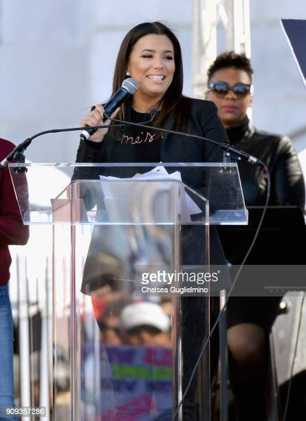 Actor Eva Longoria speaks during the Women's March Los Angeles 2018 on January 20 2018 in Los Angeles California