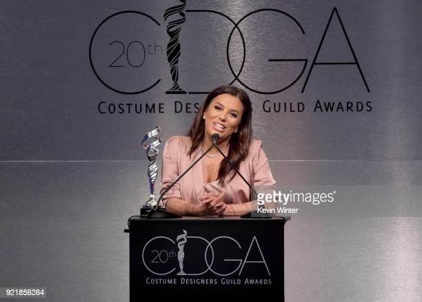 Actor Eva Longoria speaks onstage during the Costume Designers Guild Awards at The Beverly Hilton Hotel on February 20 2018 in Beverly Hills...