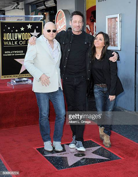 Actor Evan Handler actor David Duchovny and Actress Pamela Adlon attend the star on the Hollywood Walk of Fame ceremony held on January 25 2016 in...