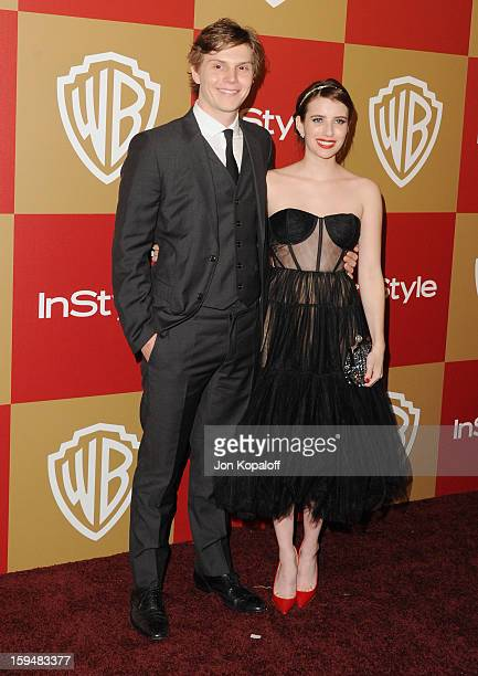 Actor Evan Peters and actress Emma Roberts arrive at the InStyle And Warner Bros Golden Globe Party at The Beverly Hilton Hotel on January 13 2013 in...