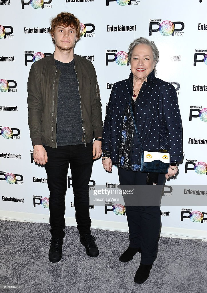 Actor Evan Peters and actress Kathy Bates attend Entertainment Weekly's Popfest at The Reef on October 30, 2016 in Los Angeles, California.