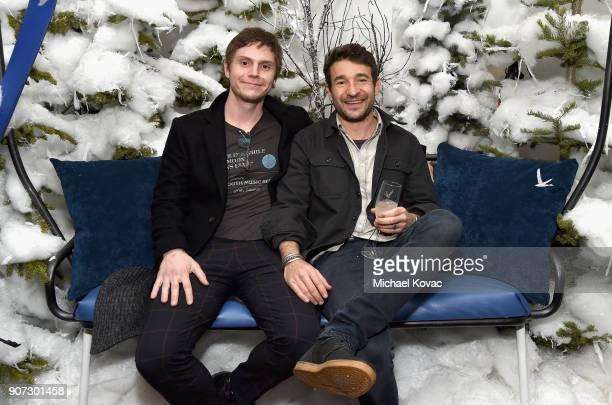 Actor Evan Peters and director Bart Layton attend the 'American Animals' afterparty at the Grey Goose Blue Door during Sundance Film Festival on...
