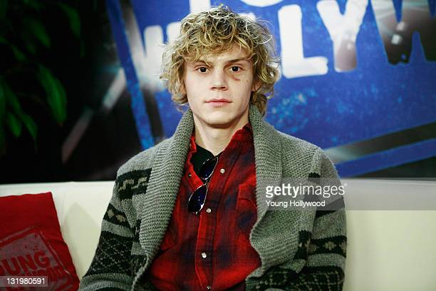 Actor Evan Peters and host Nikki Novak at the Young Hollywood Studio on November 8 2011 in Los Angeles California