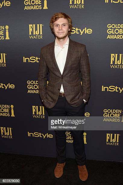 Actor Evan Peters arrives at the Hollywood Foreign Press Association and InStyle celebrate the 2017 Golden Globe Award Season at Catch LA on November...