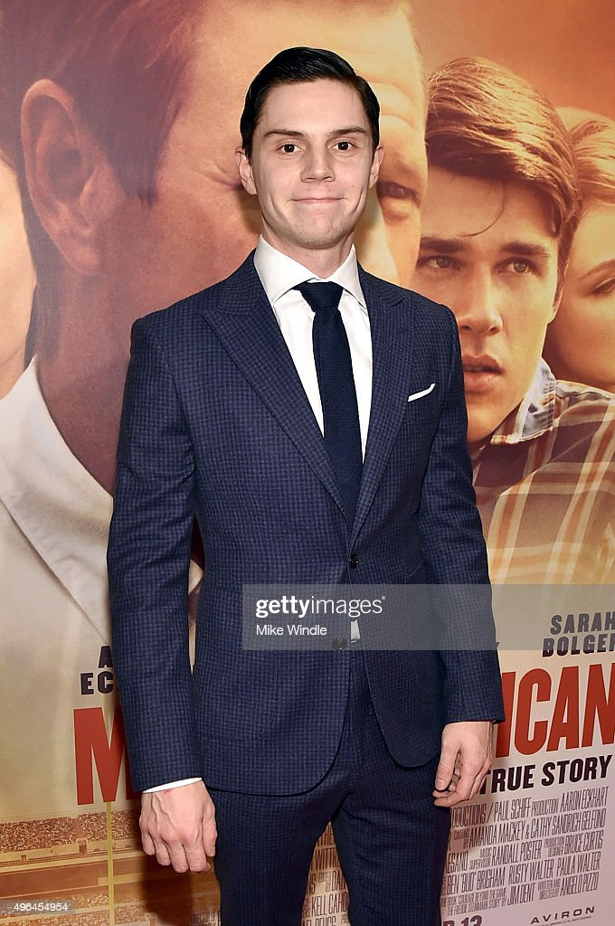 Actor Evan Peters attends the premiere of Clarius Entertainment's 'My All American' at The Grove on November 9, 2015 in Los Angeles, California.