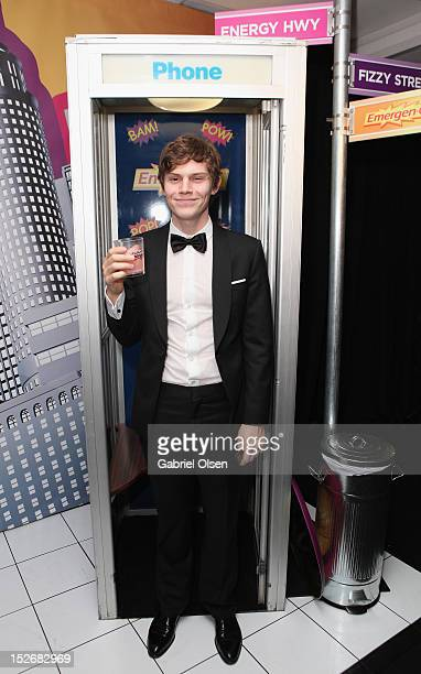 Actor Evan Peters poses with EmergenC in the Presenters Gift Lounge Backstage in celebration of the 64th Primetime Emmy Awards produced by On 3...