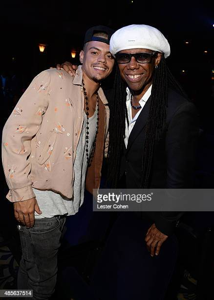 Actor Evan Ross and honoree Nile Rodgers attend the 2015 BMI RB/HipHop Awards at Saban Theatre on August 28 2015 in Beverly Hills California