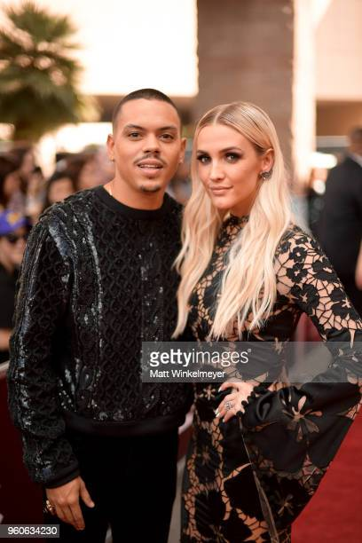 Actor Evan Ross and recording artist Ashlee Simpson attend the 2018 Billboard Music Awards at MGM Grand Garden Arena on May 20 2018 in Las Vegas...