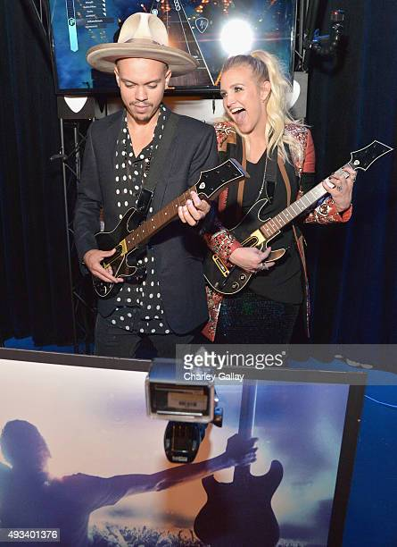 Actor Evan Ross and singer Ashlee Simpson attend Activision's Guitar Hero Live launch party in Los Angeles on October 19, 2015.