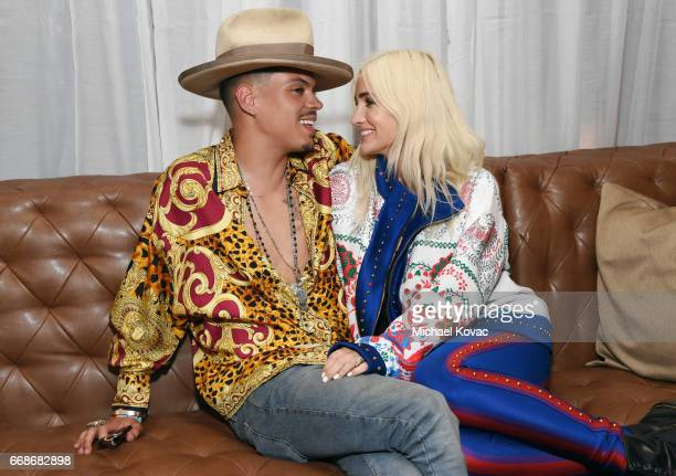 Actor Evan Ross and singer Ashlee Simpson celebrate a Toast to Summer with the NEW Limited Edition CIROC Summer Colada at the Hard Rock Hotel Palm...