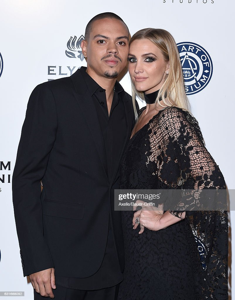 Actor Evan Ross (L) and singer-songwriter Ashlee Simpson arrive at The Art of Elysium celebrating the 10th Anniversary at Red Studios on January 7, 2017 in Los Angeles, California.