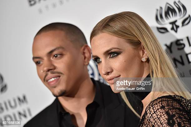 Actor Evan Ross and singersongwriter Ashlee Simpson arrive at The Art of Elysium celebrating the 10th Anniversary at Red Studios on January 7 2017 in...