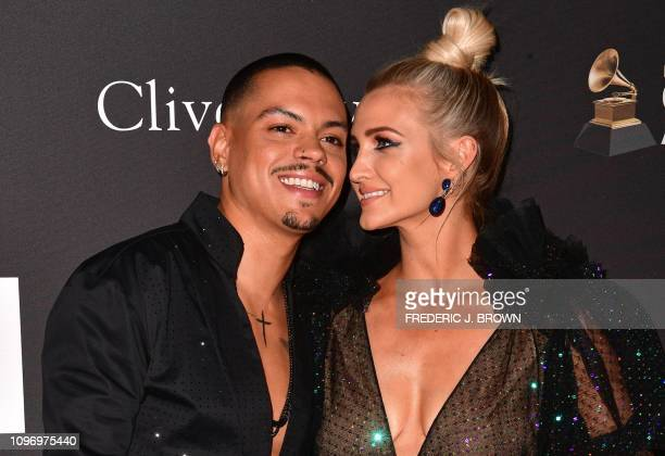 US actor Evan Ross and US singer Ashlee Simpson arrive for the traditional Clive Davis party on the eve of the 61th Annual Grammy Awards at the...