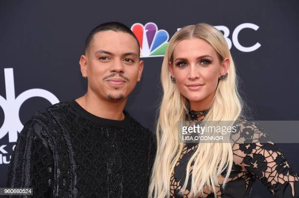 Actor Evan Ross and wife singer/songwriter Ashlee SimpsonRoss attend the 2018 Billboard Music Awards 2018 at the MGM Grand Resort International on...