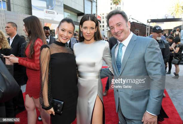 Actor Evangeline Lilly and Executive Producer Louis D'Esposito attend the Los Angeles Global Premiere for Marvel Studios' 'AntMan And The Wasp' at...