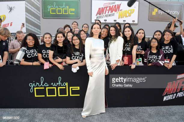 Actor Evangeline Lilly and Girls Who Code attend the Los Angeles Global Premiere for Marvel Studios' 'AntMan And The Wasp' at the El Capitan Theatre...