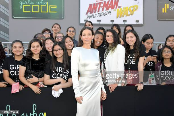 Actor Evangeline Lilly and Girls Who Code attend the Los Angeles Global Premiere for Marvel Studios' AntMan And The Wasp at the El Capitan Theatre on...