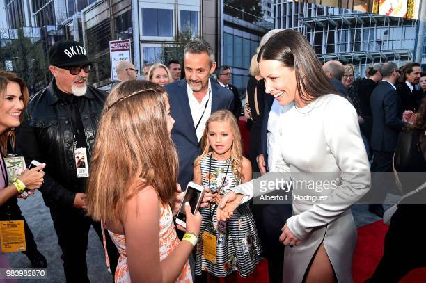 Actor Evangeline Lilly and guests attend the Los Angeles Global Premiere for Marvel Studios' 'AntMan And The Wasp' at the El Capitan Theatre on June...