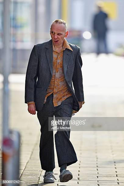 Actor Ewan Bremner on the set of the Trainspotting film sequel in Muirhouse shopping centre on May 11 2016 in Edinburgh Scotland The long awaited...