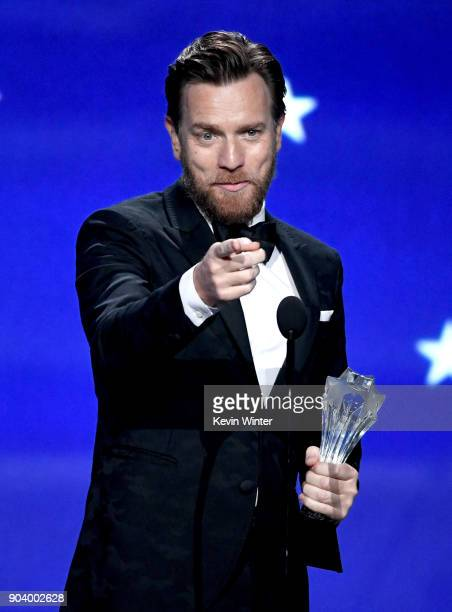 Actor Ewan McGregor accepts Best Actor in a Movie/Limited Series for 'Fargo' onstage during The 23rd Annual Critics' Choice Awards at Barker Hangar...