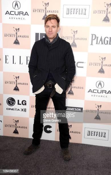 Actor Ewan McGregor arrives at the 2011 Film Independent Spirit Awards at Santa Monica Beach on February 26 2011 in Santa Monica California